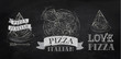 Pizza logos, icons and a slice of pizza chalk - 53655547