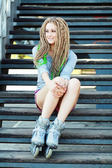 beautiful girl with dreadlocks