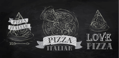 Pizza logos, icons and a slice of pizza chalk