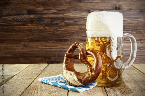 Foto op Canvas Bar Beer and Pretzel; Oktoberfest