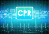 CPR sign on modern black and blue background poster
