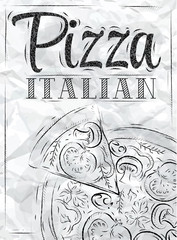 Poster with pizza crumpled paper