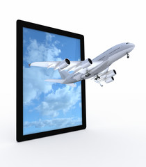 tablet and airplane on white background