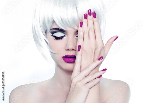 Makeup and Manicured polish nails. Fashion Style Beauty Woman Po