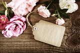 Handmade paper tag with string and roses - Fine Art prints