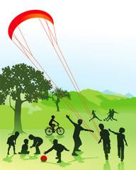 Kinder und Jugendliche im Park