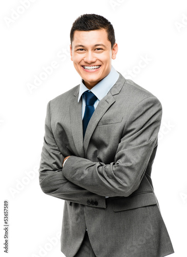 Happy asian businessman arms folded isolated on white