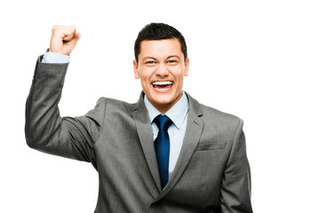 Mixed race businessman celebrating success isolated on white bac