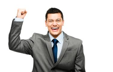 Mixed race businessman celebrating success isolated on white bac