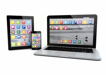laptop, smatrp phone and tablet pc