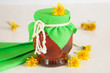 Honey of dandelions in glass jar
