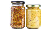 Glass jars with mustard