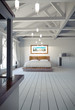 3d image of a fancy bedroom with beams