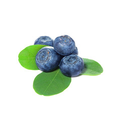Blueberries, blueberry with leaves on white background.