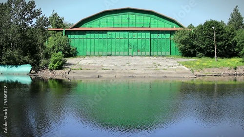 Green Warehouse on the riverbank