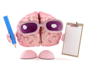 Brain has a clipboard and pencil