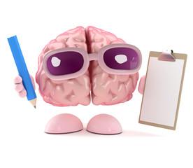 Brain has a clipboard and pencil