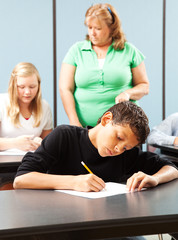 Young Boy Taking Test