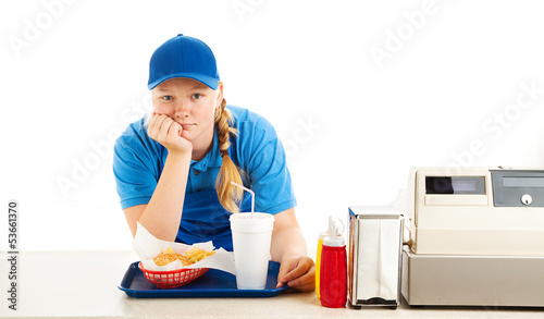 Bored Teen Fast Food Worker - 53661370