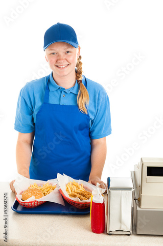 Friendly Teenage Worker in Restaurant
