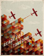 Retro Geometric Pattern with clouds and airplanes.