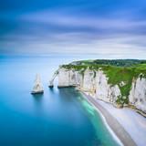 Fototapety Etretat Aval cliff landmark and ocean . Normandy, France.