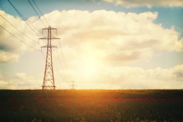 evening electric pylons