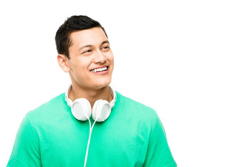 Asian lsitening to music student heaphones white background
