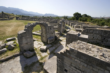 Ruins of ancient roman town Salona near town Split in Croatia