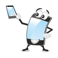 smartphone mascot, empty screens, space for additional text