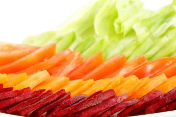 Fresh green salad, focus on beetroot
