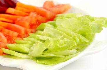 Green salad kept in a plate