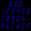 digital numbers blue - italic & reflect