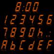 digital numbers orange - italic & reflect