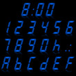 digital numbers light blue - italic & reflect