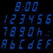 digital numbers light blue - italic & reflect