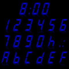 digital numbers blue - italic & reflect