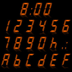 digital numbers orange - italic & reflect
