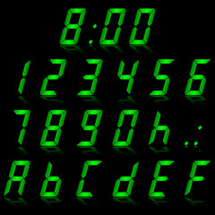 digital numbers green - italic & reflect