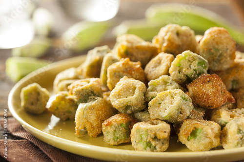 Organic Homemade Fried Green Okra