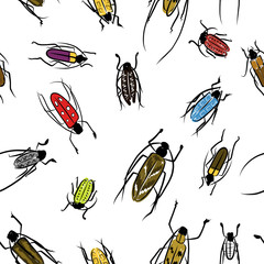 Beetles sketch, pattern for your design