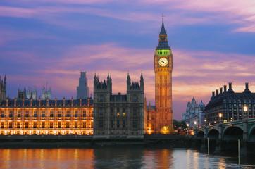 Big Ben In London At Twilight