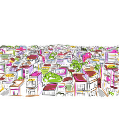 Cityscape sketch, seamless pattern for your design