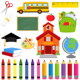 Vector Collection of School Supplies and Images