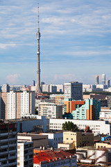 Moscow skyline with TV tower