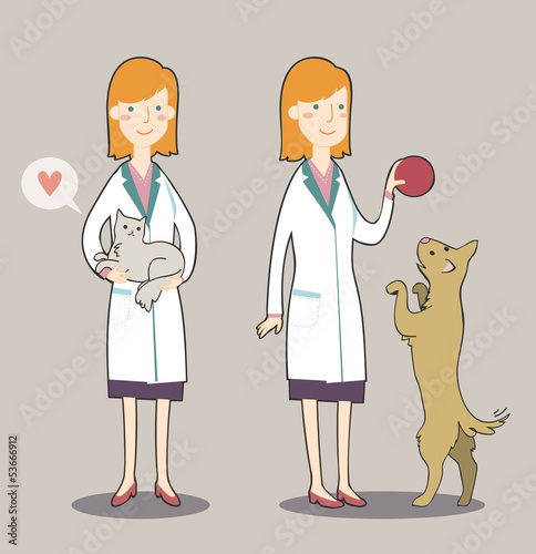 Two cute cartoon veterinarian with cat and dog