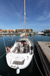 White sail yacht in the marina of Sotogrande, Andalusia Spain
