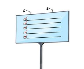 checklist on billboard