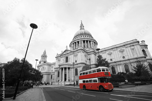Poster London Routemaster Bus, St Paul's Cathedral