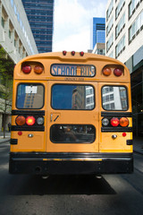 Typical yellow New York style school bus at New York City